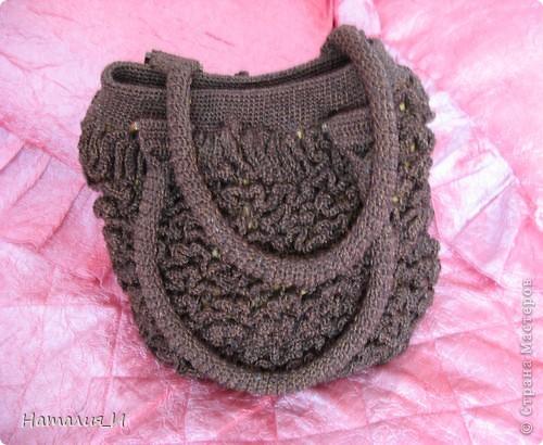 """Обожаю сумки, просто с ума схожу! Покупаю их и вяжу/шью сама. Вот моя новая сумочка. Связана из пряжи """"Катекс"""" крючком фото 1"""