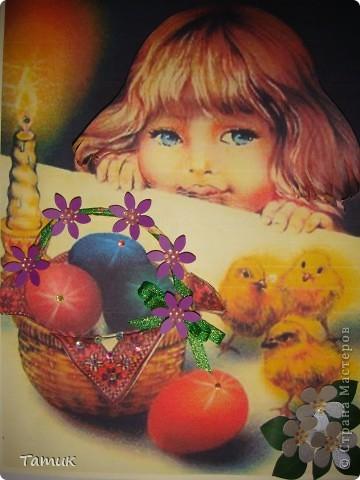 Вот такая весёлеькая открыточка получилась в садик к Пасхе . фото 1