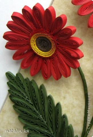 Доброго дня всем жителям СМ! В этот пасхальный день я к вам с герберами. Очень захотелось попробовать сделать эти цветы, к тому же нашелся повод - день рождения у большо-о-о-й их любительницы. Не так давно, благодаря Ольге Ольшак, в нашей Стране появилось много гербер. Мне захотелось их сделать чуть отличными, полностью крученными. Надеюсь, получилось похоже. Имениннице понравились, надеюсь, приглянутся и вам. Делала с удовольствием и в который раз восхищалась возможностями моего любимого квиллинга. Оформление простое - хотелось, чтоб ничто не отвлекало внимания от самих цветов - надеюсь, получилось.  Работа для меня не характерная. Не думала, что, я - миниатюристка, когда-нибудь сделаю композицию в раме (32 х 23 см), но вот... даже понравилось.  фото 4