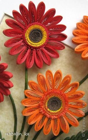Доброго дня всем жителям СМ! В этот пасхальный день я к вам с герберами. Очень захотелось попробовать сделать эти цветы, к тому же нашелся повод - день рождения у большо-о-о-й их любительницы. Не так давно, благодаря Ольге Ольшак, в нашей Стране появилось много гербер. Мне захотелось их сделать чуть отличными, полностью крученными. Надеюсь, получилось похоже. Имениннице понравились, надеюсь, приглянутся и вам. Делала с удовольствием и в который раз восхищалась возможностями моего любимого квиллинга. Оформление простое - хотелось, чтоб ничто не отвлекало внимания от самих цветов - надеюсь, получилось.  Работа для меня не характерная. Не думала, что, я - миниатюристка, когда-нибудь сделаю композицию в раме (32 х 23 см), но вот... даже понравилось.  фото 5
