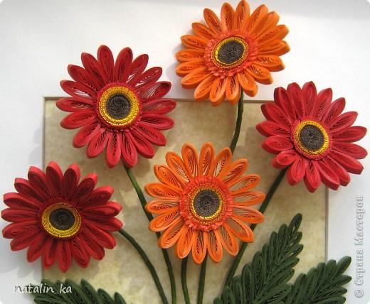 Доброго дня всем жителям СМ! В этот пасхальный день я к вам с герберами. Очень захотелось попробовать сделать эти цветы, к тому же нашелся повод - день рождения у большо-о-о-й их любительницы. Не так давно, благодаря Ольге Ольшак, в нашей Стране появилось много гербер. Мне захотелось их сделать чуть отличными, полностью крученными. Надеюсь, получилось похоже. Имениннице понравились, надеюсь, приглянутся и вам. Делала с удовольствием и в который раз восхищалась возможностями моего любимого квиллинга. Оформление простое - хотелось, чтоб ничто не отвлекало внимания от самих цветов - надеюсь, получилось.  Работа для меня не характерная. Не думала, что, я - миниатюристка, когда-нибудь сделаю композицию в раме (32 х 23 см), но вот... даже понравилось.  фото 3