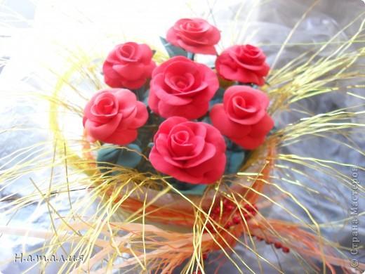 Букет алых роз. фото 1