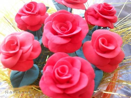 Букет алых роз. фото 2