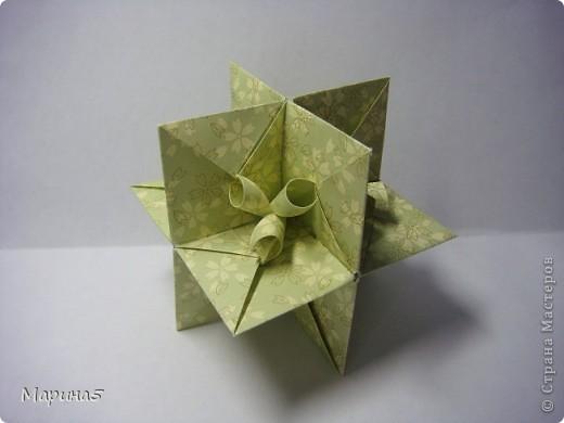 Ну и опять продолжение книги Unit Origami Fantasy. Одна из моих любимых кусудам, собирается без клея. Стр.145-146 фото 6