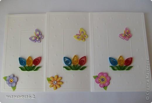 """Эти пасхальные открыточки я сделала для своих """"девчат"""" на работу. Использовала готовые заготовки для открыток с тиснением, 3D-наклейки  и бумагу для квиллинга.  фото 1"""
