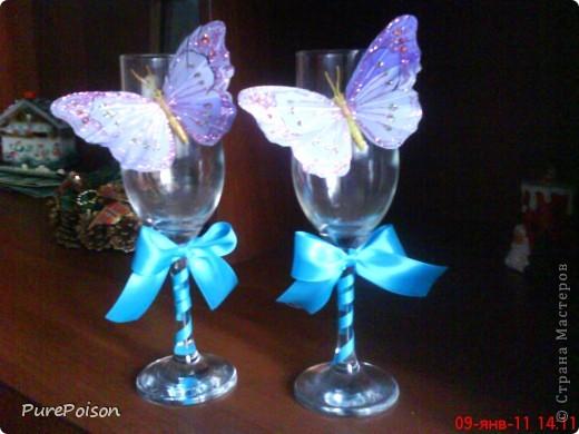 Эти бокальчики я делала в подарок год назад. Еще были розовые и желтые, но их сфотографировать забыла... фото 1