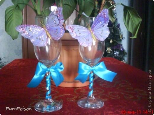 Эти бокальчики я делала в подарок год назад. Еще были розовые и желтые, но их сфотографировать забыла... фото 2