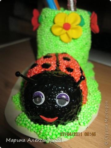 Божья коровка-карандашница №2 из шарикового пластилина! фото 2