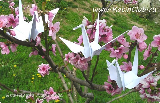 Японский журавлик оригами мастер класс  #5