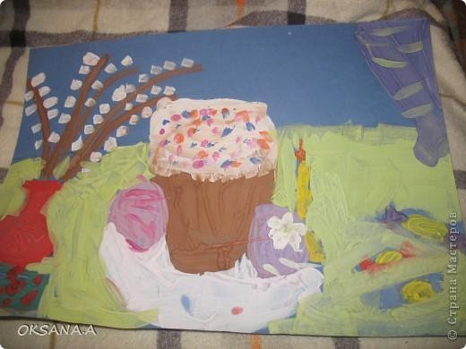 Пасхальная картина. Нарисовала старшая дочка Валерия 7 лет. фото 1