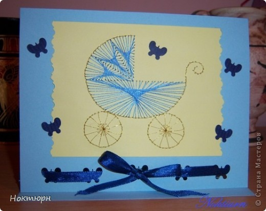 Открытка для мамы новорожденного младенца.Коляску вышивала шелковыми нитками. фото 1