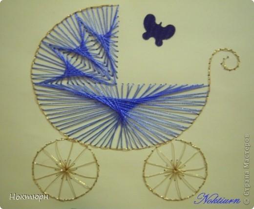 Открытка для мамы новорожденного младенца.Коляску вышивала шелковыми нитками. фото 2