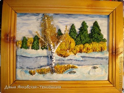 картина из соленого теста, листва березы - бисер.