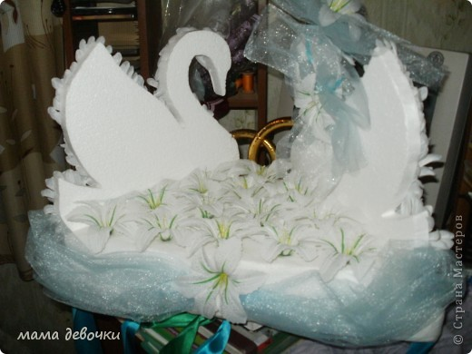 эти лебеди были на свадебной машине у знакомых, брали они их на пракат, сделаны они своими руками! Лебеди вырезаны из пенопласта, а перышки из искуственных цветов (хризантема) ну мне так показалась, может и другой цветок, а можно сделать и из боа, цветы за лебедями воткнуты в пенопласт и преклеены на клей. А вот что нашла в стране мастеров http://stranamasterov.ru/node/165535?c=favorite http://stranamasterov.ru/node/140494?c=favorite http://stranamasterov.ru/node/136983?c=favorite http://stranamasterov.ru/node/119455?c=favorite http://stranamasterov.ru/node/112301?c=favorite http://stranamasterov.ru/node/93170?c=favorite http://stranamasterov.ru/node/172772?c=favorite http://stranamasterov.ru/node/160300?c=favorite http://stranamasterov.ru/node/157884?c=favorite фото 5