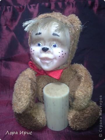 Хочу рассказать как сделать такую куклу за один вечер. В работе использовалась пластика Фимо, старенький плюшевый мишка, акриловые краски. фото 1