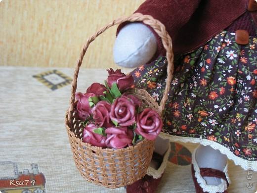 """На улице весна полным ходом, а я родилась вот такая осенняя. Меня зовут  Зайка Анфиса. Просто так удачно собрались у моей """"мамы"""" тканюшки по гамме, что она не смогла устоять. фото 5"""