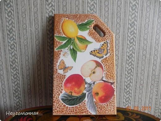 Деревянная доска, акрил, яичная скорлупа, салфетки, лак. фото 1