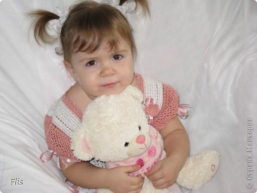 Платье-туника на девочку 1-1,5 лет. Вязала из Тулипа, нитки сложные в вязании, но очень понравились в носке и приятные к телу. фото 7