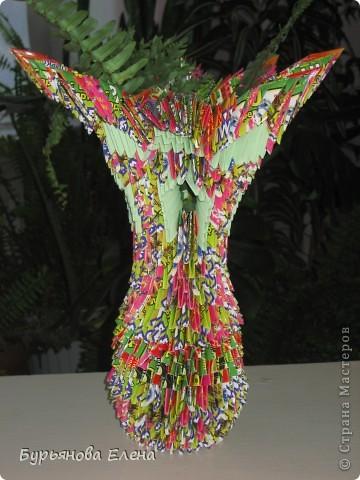 """Купили книгу модульное оригами Т. Просняковой, и принялись за работу. Хотела сделать """"Замок"""", а получилась ВАЗА. фото 1"""