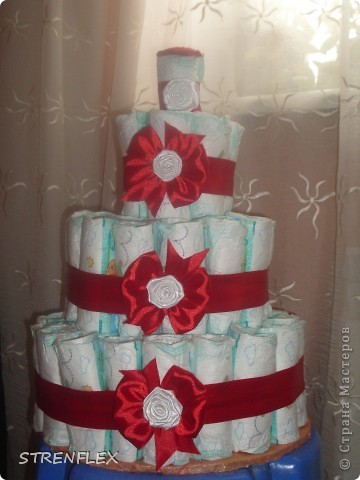 Я давно хотела сделать торт из памперсов. Но все как-то случая подходящего не было... А тут у кума доця родилась и пошли мы на смотрины в 3 месяца с таким вот тортиком!!! Не знаю как малышка, а родители были в шоке.... фото 1