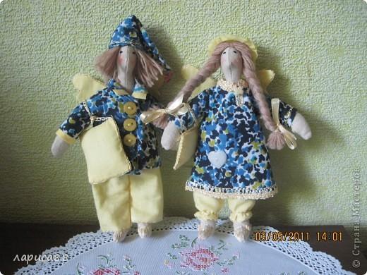 Нарядные, в пижамках цвета ночного неба, тильды-ангелочки Сон и Соня. фото 1