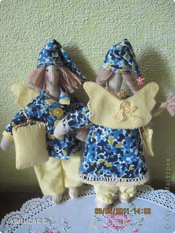 Нарядные, в пижамках цвета ночного неба, тильды-ангелочки Сон и Соня. фото 3