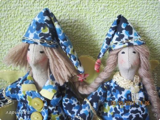 Нарядные, в пижамках цвета ночного неба, тильды-ангелочки Сон и Соня. фото 6