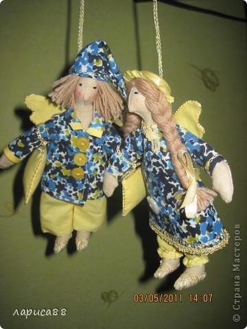 Нарядные, в пижамках цвета ночного неба, тильды-ангелочки Сон и Соня. фото 7