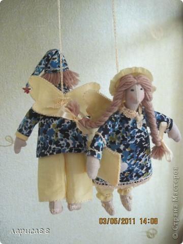 Нарядные, в пижамках цвета ночного неба, тильды-ангелочки Сон и Соня. фото 9