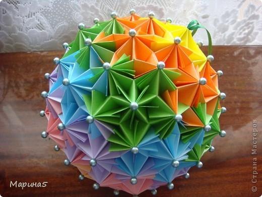 Ура!!!! Я это сделала!!! Я закончила штудирование книги Unit Origami Fantasy. Эта кусдама моя гордость, состоит из 270! модулей Муравьинный лев, стр.152-154 фото 1