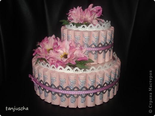 Первый раз делала тортик из конфет. Использовала конфеты Yogurette.Этот тортик сделала для своей мамы .Хочу подарить ей в воскресенье на День матери. Для тортика использовала дырокол, ленточки, цветочки искуственные, тюль. Очень хотелось сделать цветочки из гофрированной но оказалось что флористическую гофру купить в магазине очень трудно. Пришлось заказать через интернет и к сожалению она ещё не пришла.Поэтому на тортике цветочки искуственные. фото 1