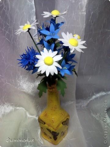 Снова полевые цветы. Хотелось увязать декор бутылочки и букетика.  фото 1