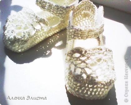Вот такие симпампульные пинетки - туфельки у меня получились для моей манюни.  фото 1