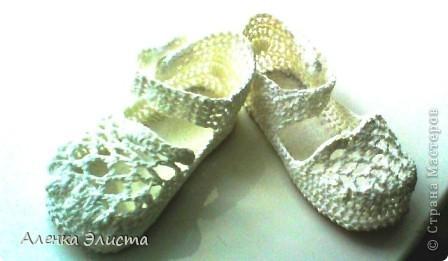 Вот такие симпампульные пинетки - туфельки у меня получились для моей манюни.  фото 3