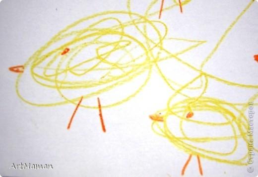 """Наш первый """"настоящий"""" рисунок (1 г. 7 мес.). Деть рисовала все сама, кроме зеленых стебельков цветочков (их рисовала мама).  фото 2"""