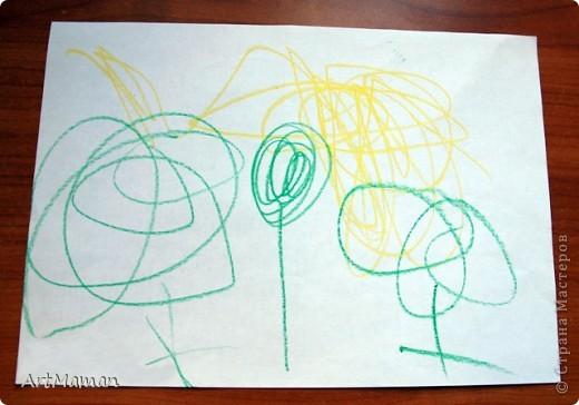 """Наш первый """"настоящий"""" рисунок (1 г. 7 мес.). Деть рисовала все сама, кроме зеленых стебельков цветочков (их рисовала мама).  фото 5"""