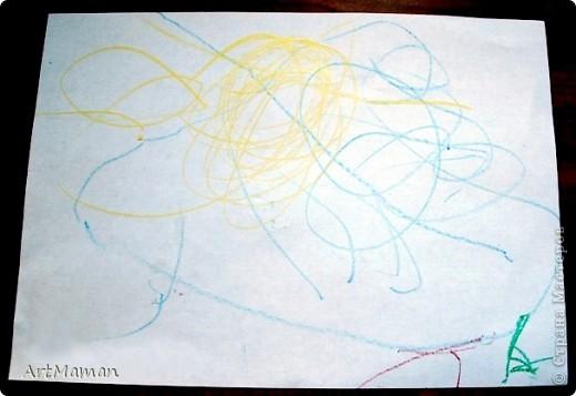 """Наш первый """"настоящий"""" рисунок (1 г. 7 мес.). Деть рисовала все сама, кроме зеленых стебельков цветочков (их рисовала мама).  фото 4"""