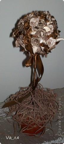 Дерево роз из атласных лент фото 2