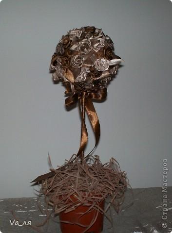 Дерево роз из атласных лент фото 1
