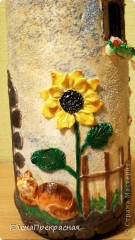 обычная бутылочка, для подарка превратилась в уютный домик!!! фото 2