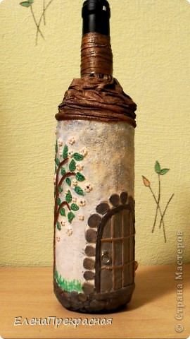 обычная бутылочка, для подарка превратилась в уютный домик!!! фото 4