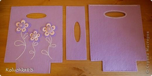 """Вот она - сумочка  """"Лиловые цветы"""" из очередного фетр-набора серии """"D&M"""". фото 3"""