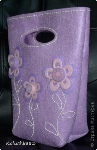 """Вот она - сумочка  """"Лиловые цветы"""" из очередного фетр-набора серии """"D&M"""". фото 1"""
