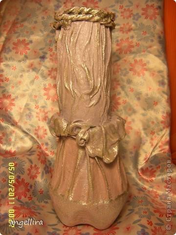 здравствуйте, мои дорогие! Благодаря Танюшкиной идее декорировать тканью бутылки я решила попробывать сделать вазу из ничего и вот что из этого получилось :) фото 2