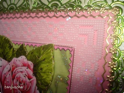 Моя новая открытка. Для этой открыточки делала рамочку в технике пергамано с помощью грида. Использовала цветочки и бумагу для скрапа. Стикеры и 3д картинку.  фото 5