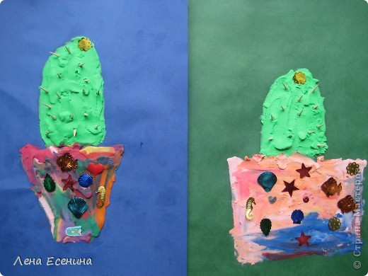 Сначала пайетки девочки решили использовать как цветочек, но потом украсили  вазы - чтоб блестело побольше. :) Иглы - кусочки деревянных зубочисток. Работа дочки (на то время 5 лет). фото 3