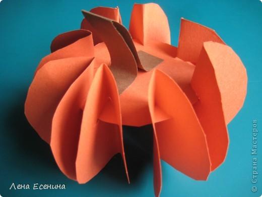 Тыквочка сделана из оранжевых бумажных кругов (используются 9-10 кругов) одинакового диаметра (6-8 см) и полоски коричневой бумаги. Важно, чтобы дети делали одинаковые прорези!
