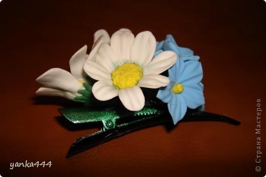 """из пластилина """"Орнжевый слон"""" заколка  с розами фото 5"""