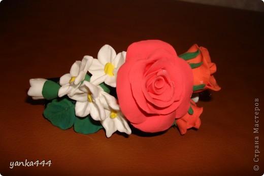 """из пластилина """"Орнжевый слон"""" заколка  с розами фото 1"""