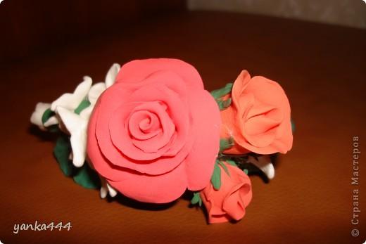 """из пластилина """"Орнжевый слон"""" заколка  с розами фото 2"""